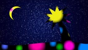 动画片夜风景-在满天星斗的天空和月亮的背景的明亮的五颜六色的棕榈树 闪动的颜色 股票视频
