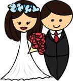 动画片夫妇婚礼 免版税库存照片