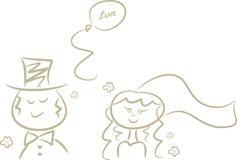 动画片夫妇逗人喜爱的婚礼 免版税库存图片