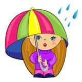 动画片女孩在伞下。 婴孩 免版税库存照片