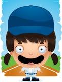 动画片女孩棒球运动员微笑 皇族释放例证