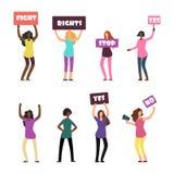 动画片妇女抗议者、女权主义、妇女的权利和抗议集合 库存例证