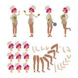 动画片字符 厨师女性要人建设者 乐趣动画片人 背景查出的白色 另外妇女p 皇族释放例证