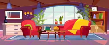 动画片客厅内部视图 与沙发、扶手椅子、咖啡桌、书架和植物的空的五颜六色的室设计 向量 库存例证