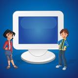 动画片少年夫妇和计算机 皇族释放例证