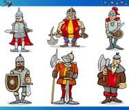 动画片幻想被设置的骑士字符 免版税库存照片