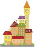 动画片建筑城镇向量 免版税库存图片
