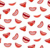 动画片微笑的嘴唇无缝的样式 与舌头的笑的嘴 滑稽的快乐的传染媒介纹理 皇族释放例证