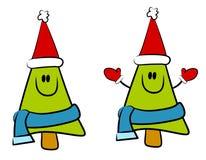 动画片微笑的圣诞树 免版税库存照片