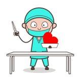 动画片心脏科医师准备好心脏手术传染媒介 库存例证