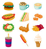 动画片快餐图标 库存图片