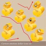 动画片情感美元图标集 免版税图库摄影
