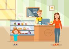 动画片愉快的妈妈和小女儿选择蛋糕 皇族释放例证