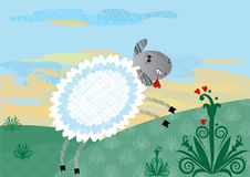动画片愉快的绵羊 库存照片