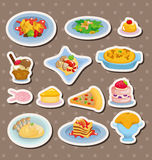 动画片意大利食物贴纸 库存照片