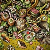 动画片手拉的乱画日本食物框架 图库摄影