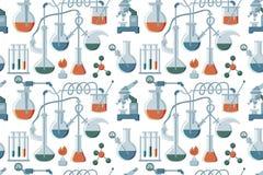 动画片手拉的科学无缝的样式 五颜六色的平的背景 向量例证