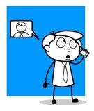 动画片推销员谈话与电话的客户 皇族释放例证