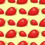 动画片新鲜的草莓果子无缝的样式背景莓果夏天设计传染媒介例证 库存例证