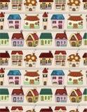 动画片无缝房子的模式 免版税库存图片