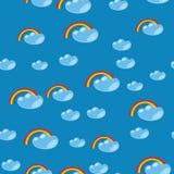 动画片无缝的彩虹和云彩纹理635 免版税库存图片