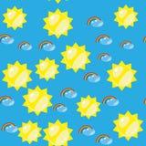 动画片无缝的彩虹和太阳纹理636 库存例证