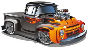 动画片旧车改装的高速马力汽车向量 免版税库存图片