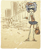 动画片时兴的女孩向量 免版税库存图片