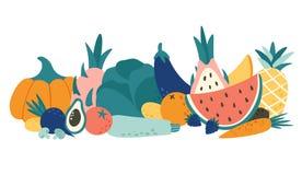 动画片有机食品 蔬菜和水果,自然水果和蔬菜产品传染媒介例证 库存例证
