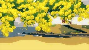 动画片树的抽象动画与小屋的在海边附近的小山的在背景 动画片横向 向量例证