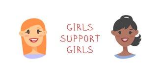 动画片样式字符女孩 传染媒介例证白种人和非裔美国人的妇女和女权主义行情女孩支持女孩 皇族释放例证