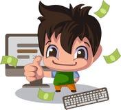 动画片样式的人,赞许 年轻程序员的销售主任或例证 库存例证
