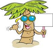 动画片棕榈树佩带的太阳镜和拿着标志 免版税库存照片