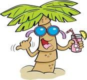 动画片棕榈树佩带的太阳镜和拿着饮料 免版税库存照片