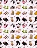 动画片模式无缝的集鞋子 免版税库存照片