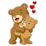 动画片母亲和婴孩棕熊 皇族释放例证