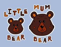 动画片母亲熊和小的熊 贴纸或印刷品蠢人衬衣 逗人喜爱的动物和funy字法 传染媒介例证为 库存例证