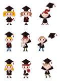 动画片毕业生图标设置了学员 免版税图库摄影