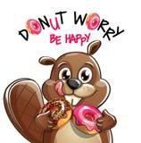 动画片海狸的传染媒介例证与油炸圈饼的 免版税图库摄影