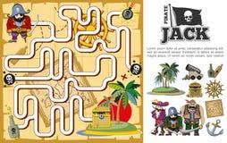 动画片海盗寻宝迷宫概念 向量例证