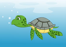 动画片游泳乌龟 免版税库存照片