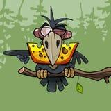 动画片滑稽的乌鸦在它的额嘴保留乳酪 图库摄影