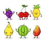 动画片滑稽的果子字符 愉快的食物贴纸,大收藏 葡萄,西瓜,菠萝 免版税库存照片
