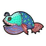 动画片漫画海或河鱼 免版税库存图片