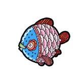 动画片漫画海或河鱼 免版税库存照片