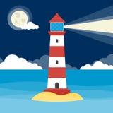 动画片灯塔在晚上 免版税库存图片
