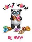 动画片熊猫的传染媒介例证与油炸圈饼的 库存照片