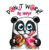 动画片熊猫的传染媒介例证与油炸圈饼的 免版税库存照片