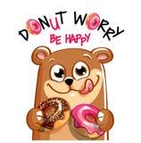 动画片熊的传染媒介例证与油炸圈饼的 库存照片