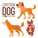 动画片狗集合传染媒介 滑稽的小狗野兽 愉快的宠物 舱内甲板被隔绝的例证 库存例证
